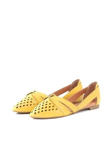 Ballerins Hakiki Deri El Yapımı Sarı Babet Blrs-125 Sarı